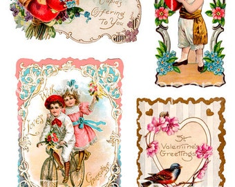 VICTORIAN VALENTINE Greeting Cards Cupid Kids Bird Downloadable Printable Vintage Digital Collage Sheet 13-035