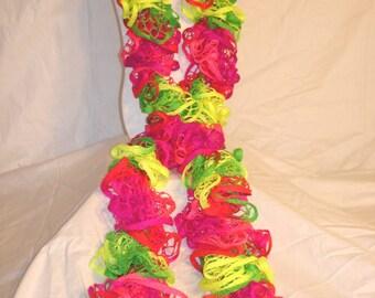 Neon Multicolored Crochet Ruffle Scarf