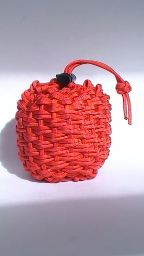 Items similar to red paracord pouch grenade shaped manly for Paracord drawstring bag
