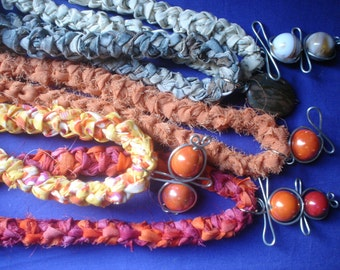 Fiber necklace, crochet necklace, jewelry, textiles, fiber art, textile necklace,recycling necklace,creative recycling