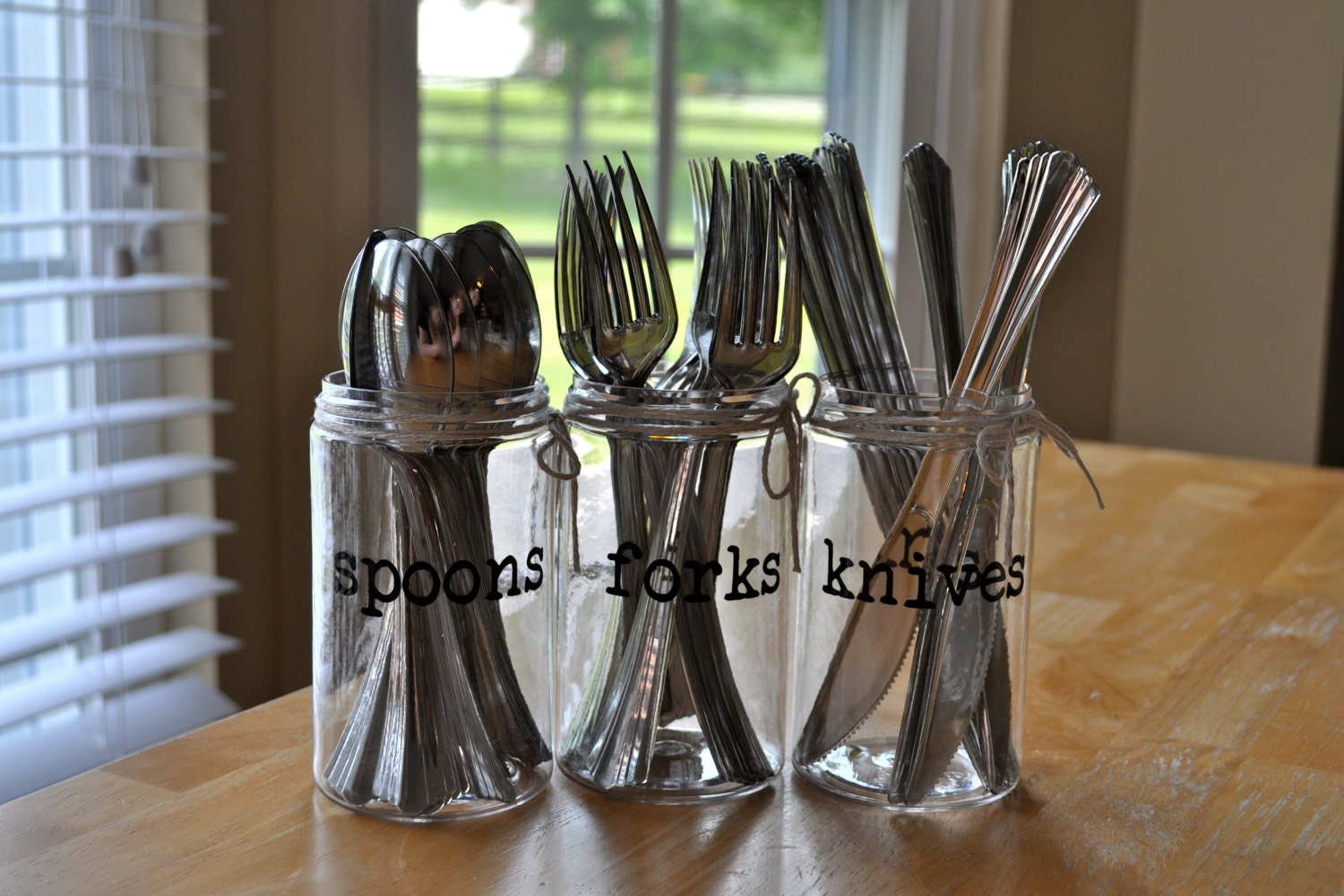 Plastic Mason Jar Silverware Holder Personalized Party