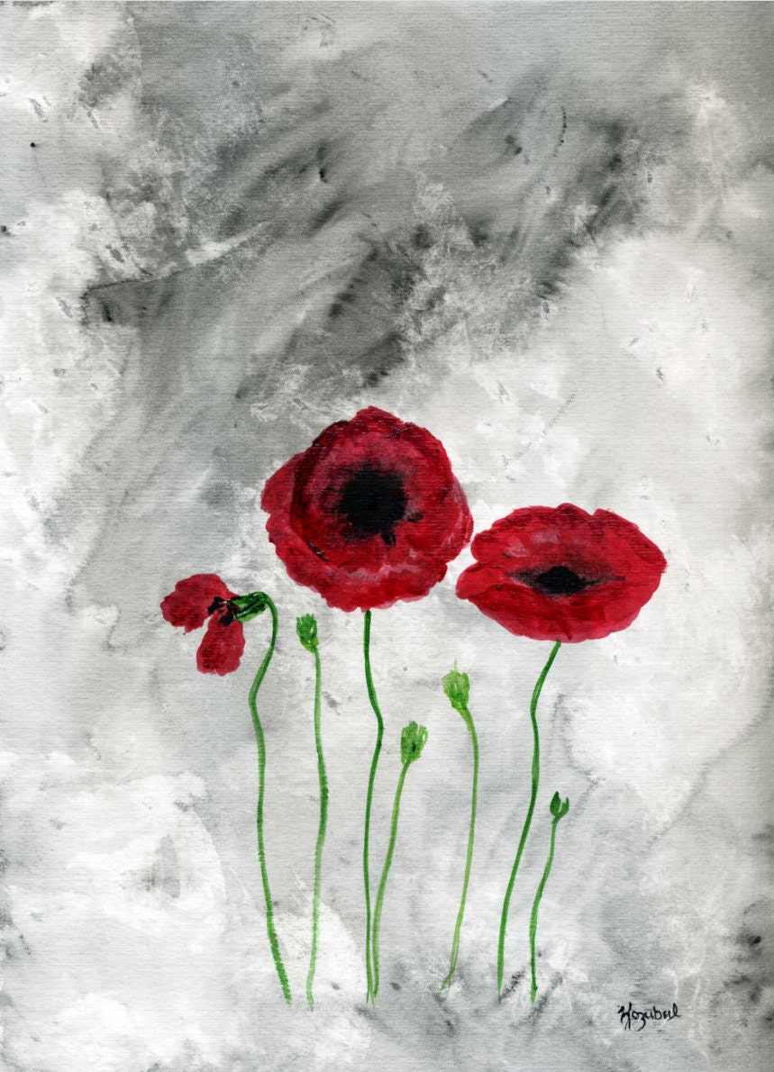 Items similar to Watercolor Painting Poppy Red Poppies ...