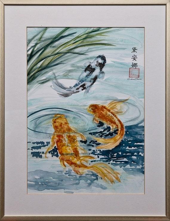 Items similar to koi fish in garden pond japanese goldfish for Koi fish pool table