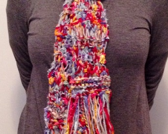 Boho Multicolor Knitted Scarf