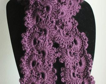 Beautiful Plum Queen Anne's Lace Handmade Crochet Scarf