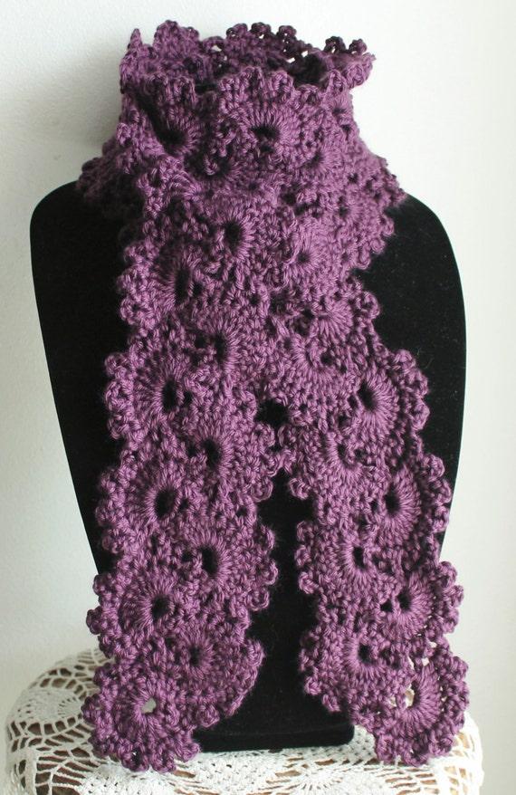 Free Crochet Pattern Queen Anne Lace Scarf : Beautiful Plum Queen Annes Lace Handmade Crochet Scarf