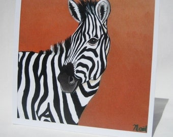 Zebra Greeting Card - print from original painting , blank card, any occasion