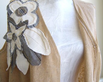 Woman vest raw  linen loosy/ asymetric vest avant garde sizeless/maternity top