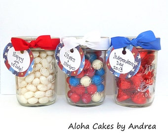 4th Of July Party Favors Mason Jar Red White Blue