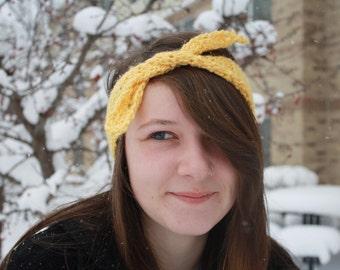 Retro Style Tie Gold Yellow Adult Headband Ear Warmer