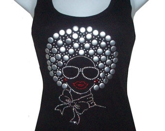 Rhinestone & Nailhead AFRO Girl Tank top Shirts Blacks Size:S, To 3XL  plus size Free Shipping