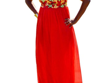 Red Ankara and Chiffon Dress, African Ankara And Chiffon Long Maxi Dress, Summer Wedding Dress, Red Party Dress, Women Party Dress