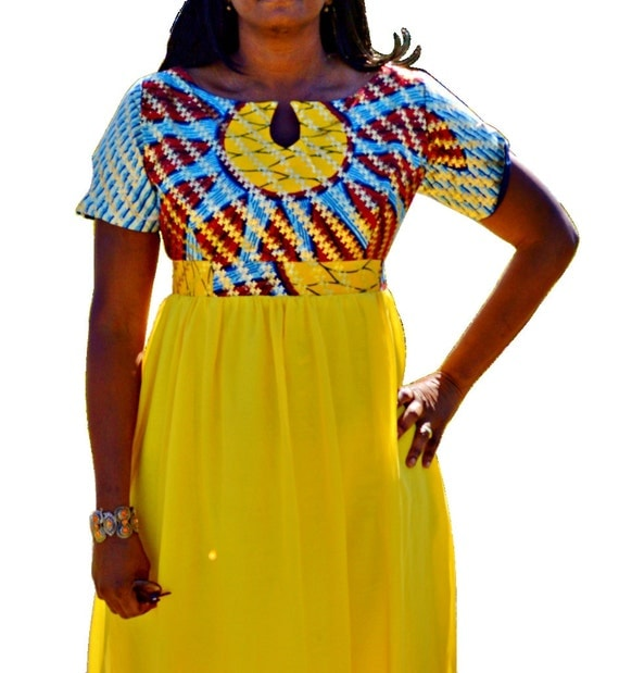 Ankara Gown With Chiffon Yellow Ankara And Chiffon