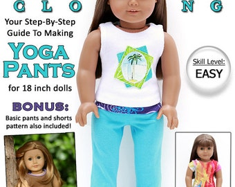 Pixie Faire Liberty Jane Yoga Pants Bundle Doll Clothes Pattern for 18 inch American Girl Dolls - PDF