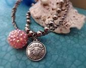 Cancer Zodiac Bracelet Set - Antique Silver Bracelets - FREE Hoop Earrings - Luxe Girls Jewelry - Cancer Crab Bracelet Set