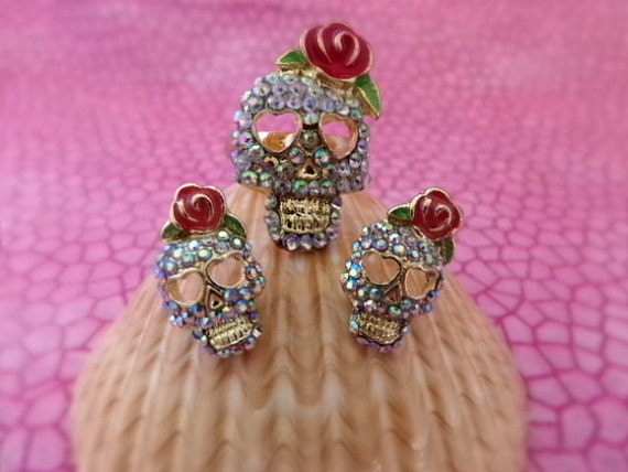 Sugar Skull and Rose Ring and Earring Set - - Rose Skull Ring - Rose Skull Earrings - Diva Skull Jewelry