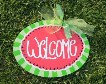 SUMMER WATERMELON  Wooden Door Hanger - Great for your Home and as a Gift