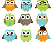 Boy Owls Orange Green Blue Digital Clipart - Clip Art