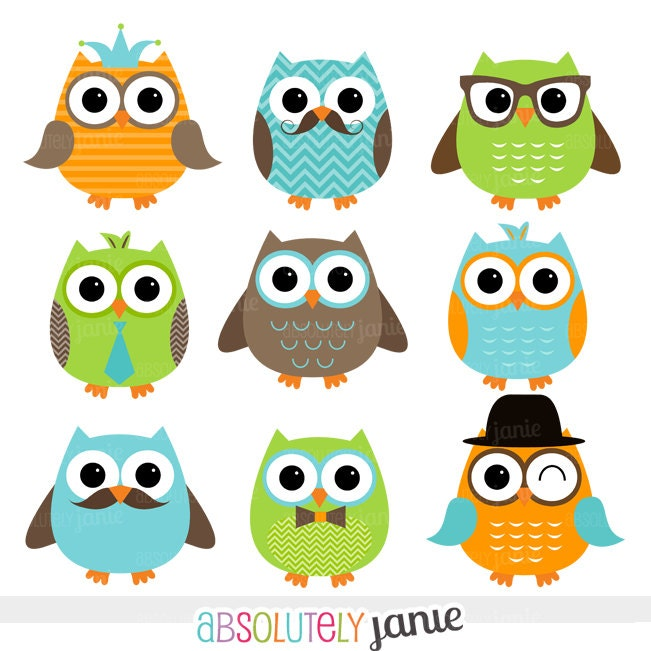 Boy Owls Orange Green Blue Digital Clipart by AbsolutelyJanie