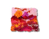 "Hooked Rug Wall Hanging, Rug Hooking, Home Decor, Modern Wall Art,  ""Sanguine Sunset"""