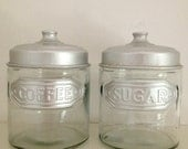 vintage set of 2 glass canisters