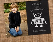 Robot Valentine Card on Chalkboard - Classroom School Valentines to pass out  - 25 4x5 photo cards for the whole class