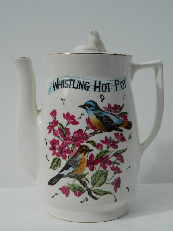 Vintage Ceramic Electric Whistling Hot Pot with Floral and Bird design and ceramic bird topper