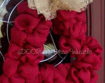 Burlap Heart Wreath, Valentine's Wreath, Heart Wreath, Burlap Wreath, Valentine Heart Wreath, Front Door Wreath