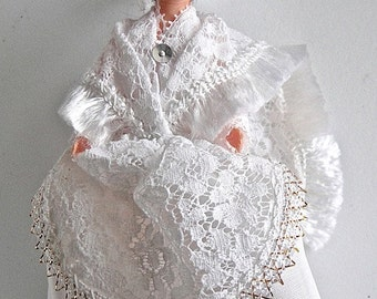 Bride French Costume celluloid doll from the 60s, collectible.