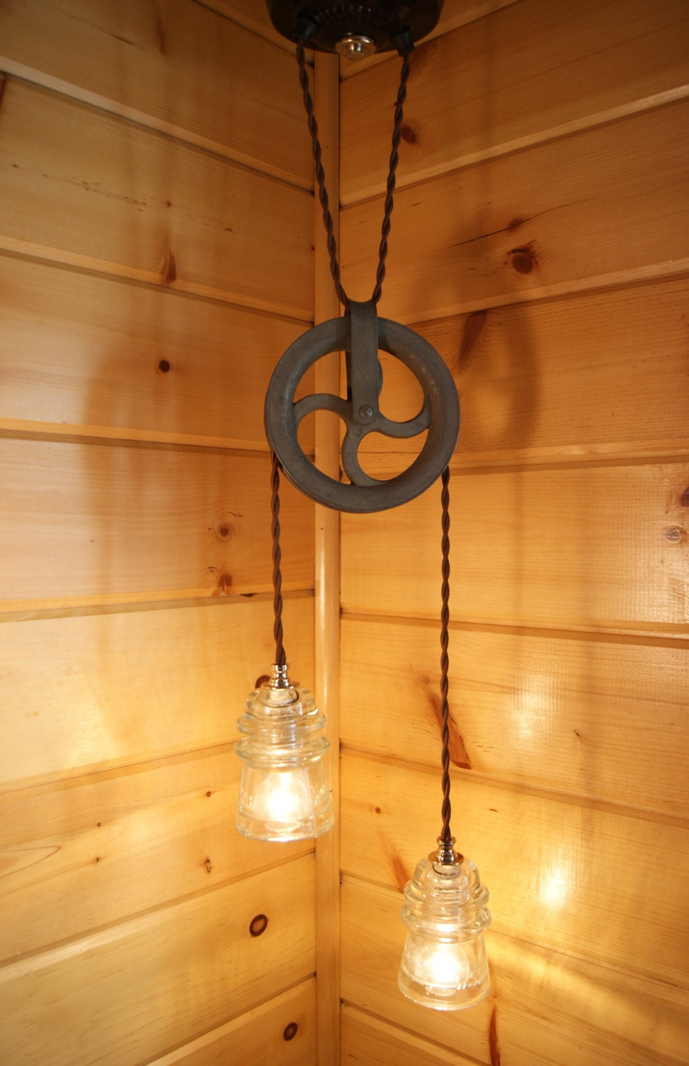 Industrial Chic Vintage Insulator Amp Pulley Hanging Light
