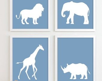 Baby Nursery Art, African Safari Animal Nursery Print, Jungle Zoo Children Kids Wall Art Kids Room Baby Nursery Decor