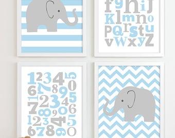 Baby Boy Nursery Art Chevron Elephant Nursery Prints, Kids Wall Art Baby Boys Room, Boys Nursery ABC Alphabet Nursery Art Print
