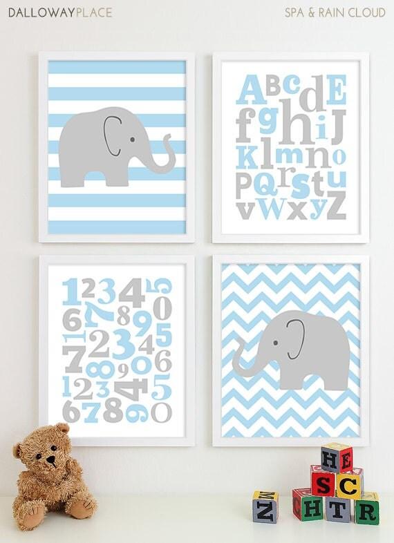 Baby boy nursery art chevron elephant nursery prints kids - Wall decor for baby boy ...