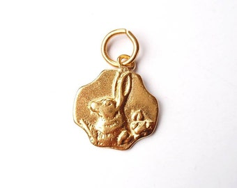 Rabbit Charm, Gold Charm, Bunny Rabbit, Rabbit Jewelry, Gold Pendant, Charm Bracelet, Brittanium, Pewter Charm