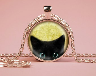 Black Cat Peeking Pendant Necklace or Keyring Glass Art Print Jewelry Charm Gifts for Her or Him