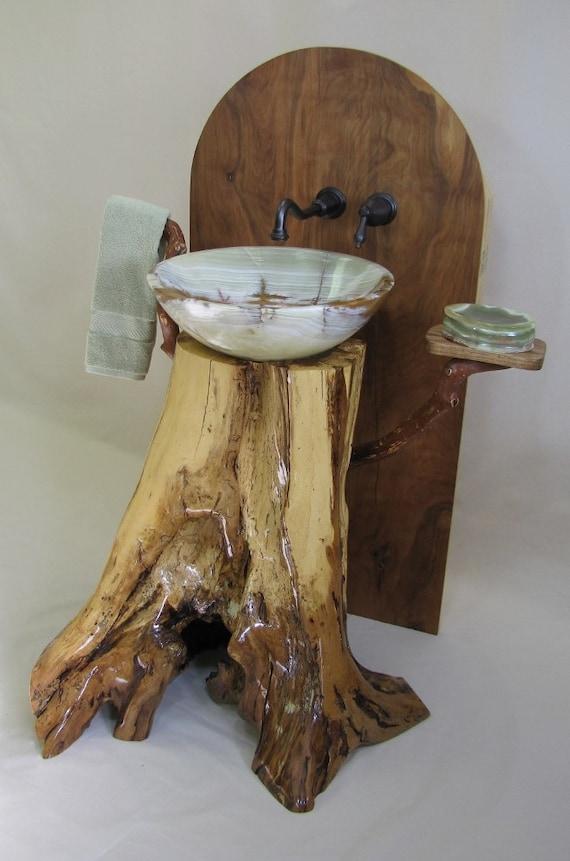 Vessel Sink Pedestal : Chestnut oak pedestal sink with green onyx vessel