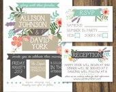 Printable - Whimsical Floral Three Piece Suite - Printable Wedding Invitation PDF