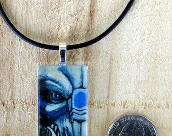 Handmade glass Garrus Vakarian Mass Effect Art Pendant with Cord