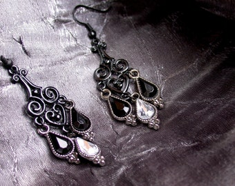 Heartdrop: Rock Chandelier Earrings (Black Heart Filigree with Black/White Gem Droplets)