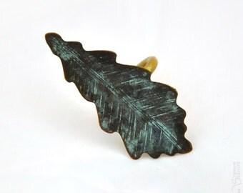 Oak leaf - patina Adjustable ring