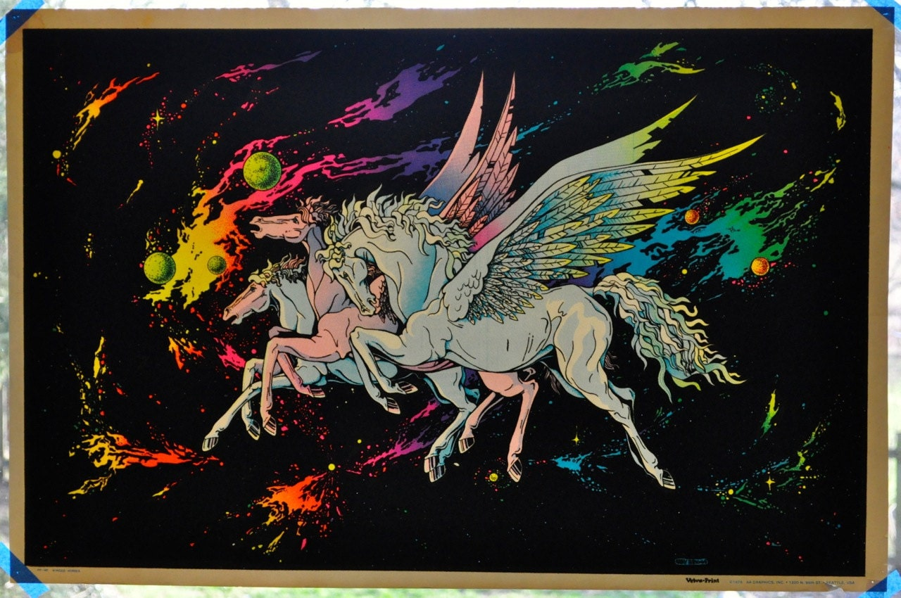 Vintage Black Velvet Pegasus Blacklight Poster Velva-Print