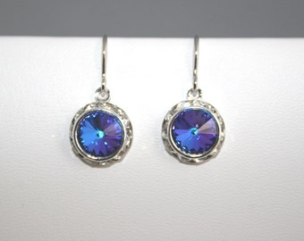 Swarovski Heliotrope Rivoli Crystal Earrings