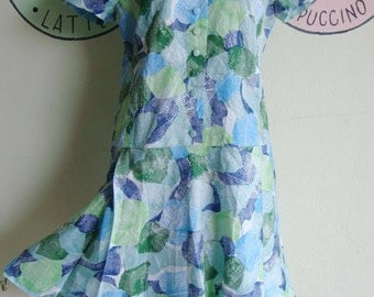 Vintage 40s Secretary dress classic casual S M One piece shiny blue Turquoise Bold green