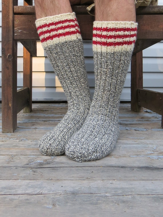 Knitting Women S Socks : Knit wool socks hand mens grey white twist with red