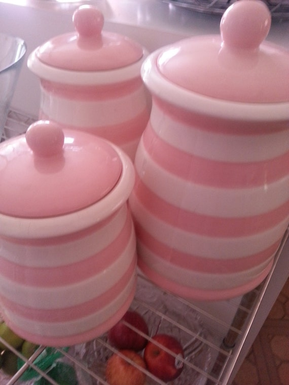 retro pink and white striped kitchen canister set 3 tiered retro vintage pink plastic kitchen canister set
