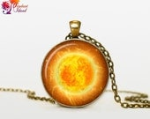 SUN Pendant  Sun Necklace Galaxy necklace Space pendant sun orange Jewelry Necklace for him  Art Gifts for Her(P11H06V04)