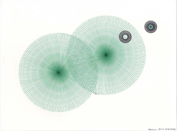 Rippling Water Original Ink Drawing Ballpoint Pen Drawing Green and Black Original Abstract Art Modern Geometric Circles Wall Art 12 x 9