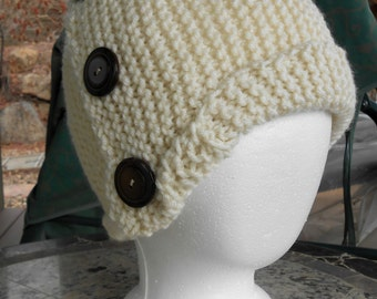 Handmade Knit Hat / Cloche with Button Decorations