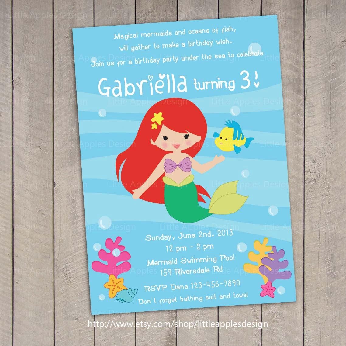 Mermaid Invitation / Little Mermaid Invitation / Mermaid