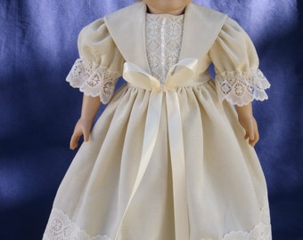 """Ivory evening gown for an 18"""" doll."""